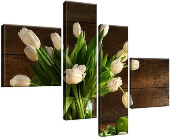 Obraz na plátne Biele tulipány 100x70cm 1364A_4B