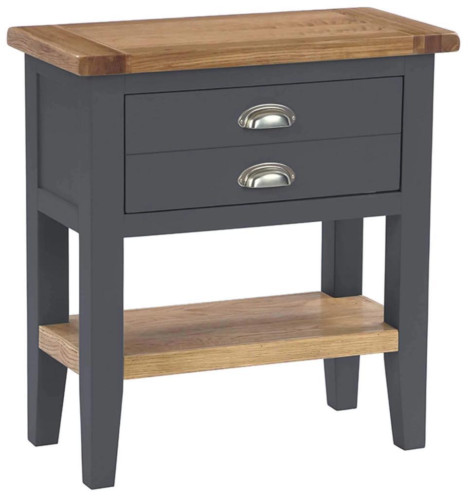 Šedý konzolový stolík so zásuvkou a poličkou 750x350x750