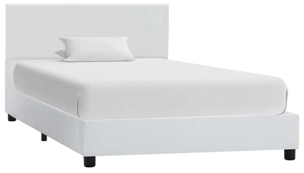 vidaXL Posteľný rám biely 90x200 cm umelá koža