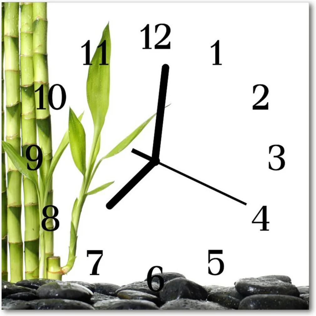 Nástenné skleněné hodiny bambus