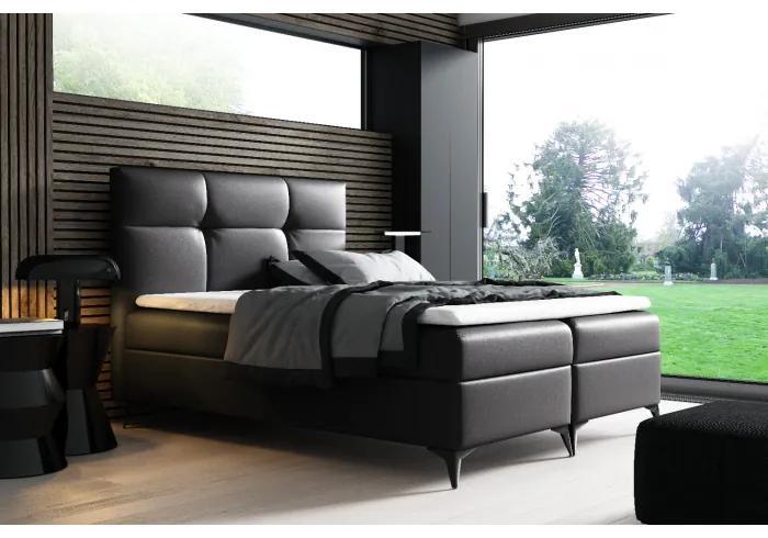Elegantní postel potažená eko kůží Floki 120x200, čierna + TOPPER