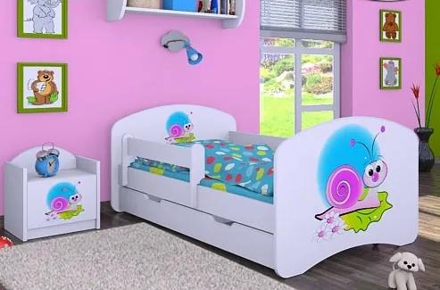 MAXMAX Detská posteľ so zásuvkou 160x80cm ŠNEK 160x80 pre dievča ÁNO modrá zelená ružová multicolor