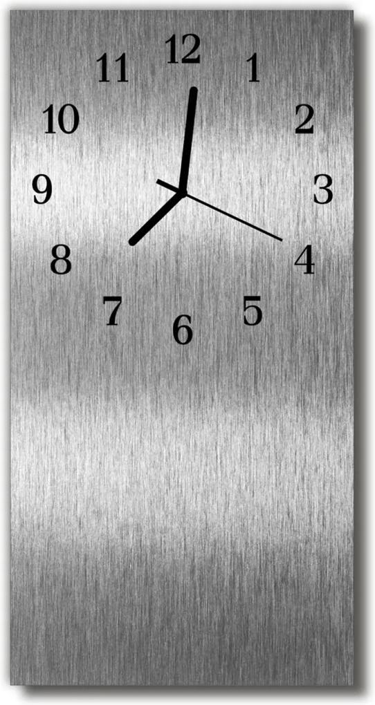 Nástěnné hodiny vertikální Ocelové kovové stříbro