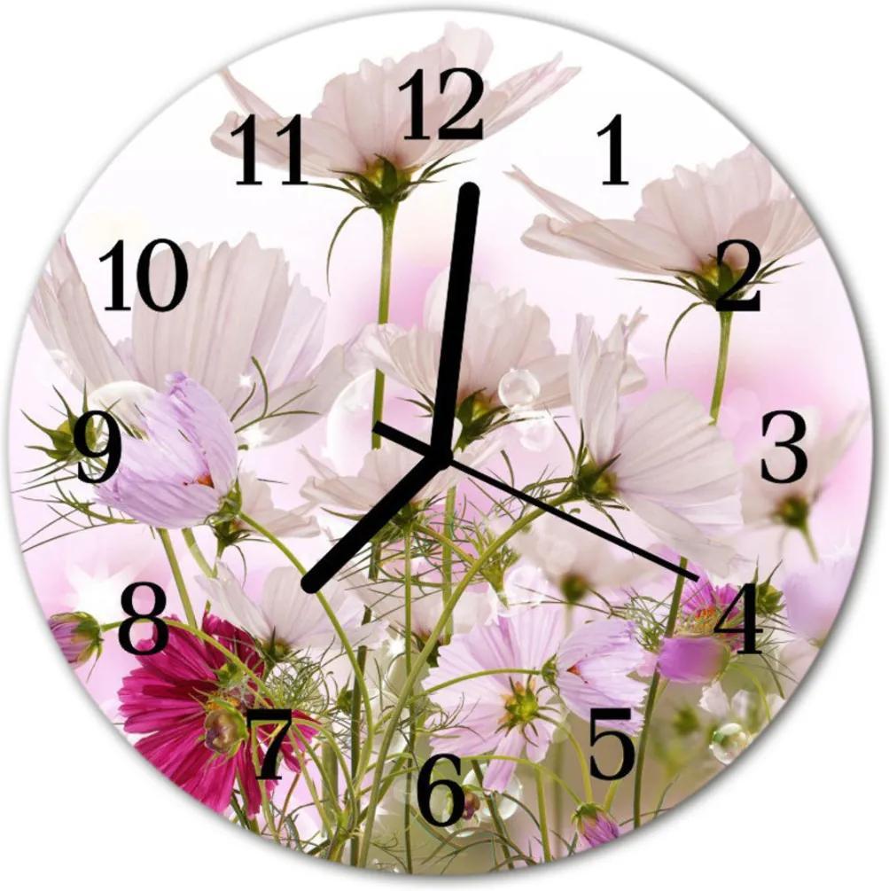 Skleněné hodiny kulaté květiny