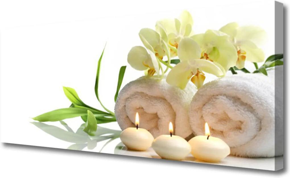 Obraz Canvas Lázně ručníky svíce orchidej