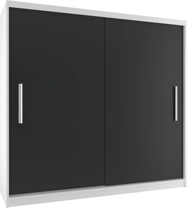 Skriňa s policami biela/čierna Casey 200 cm