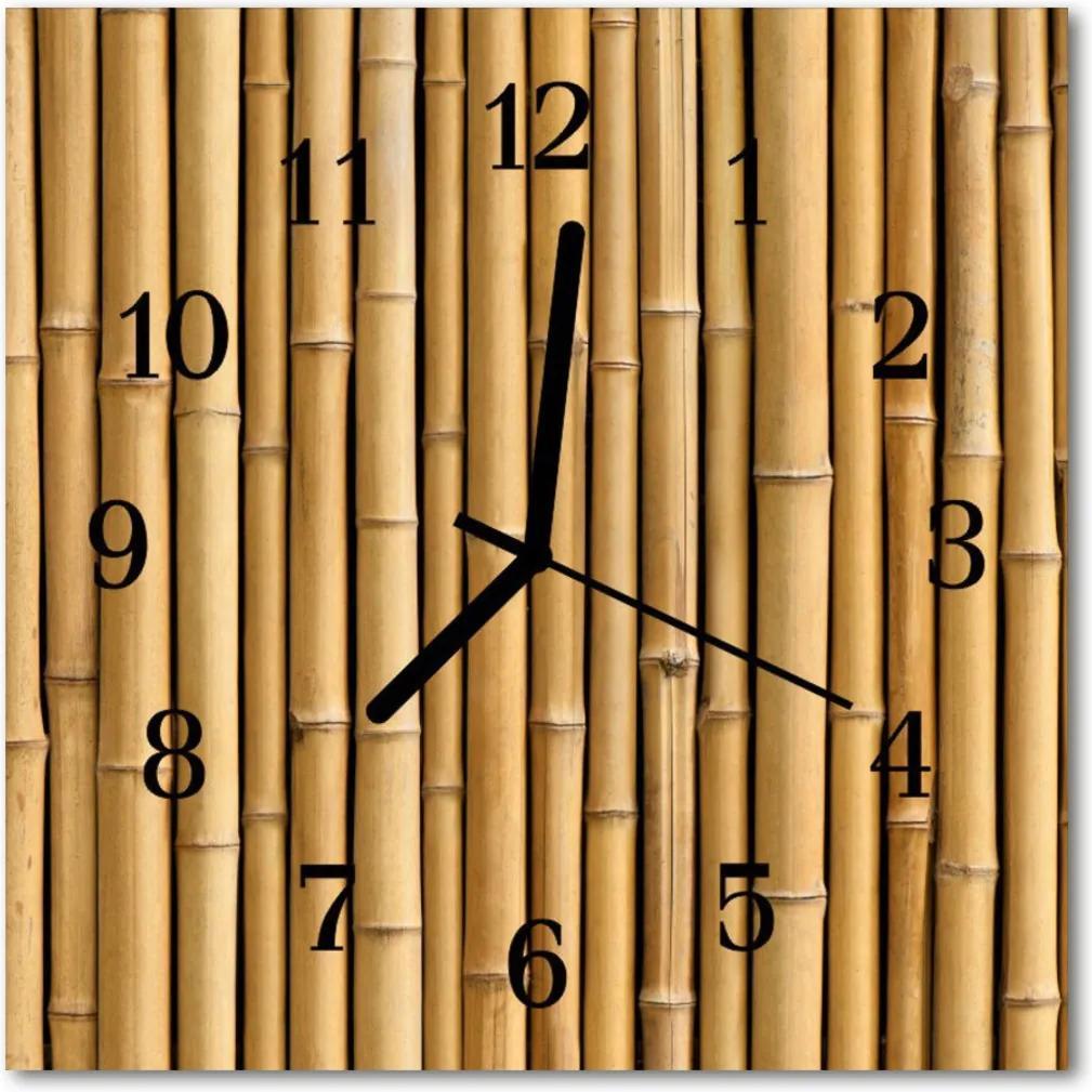 Nástenné sklenené hodiny  bambus