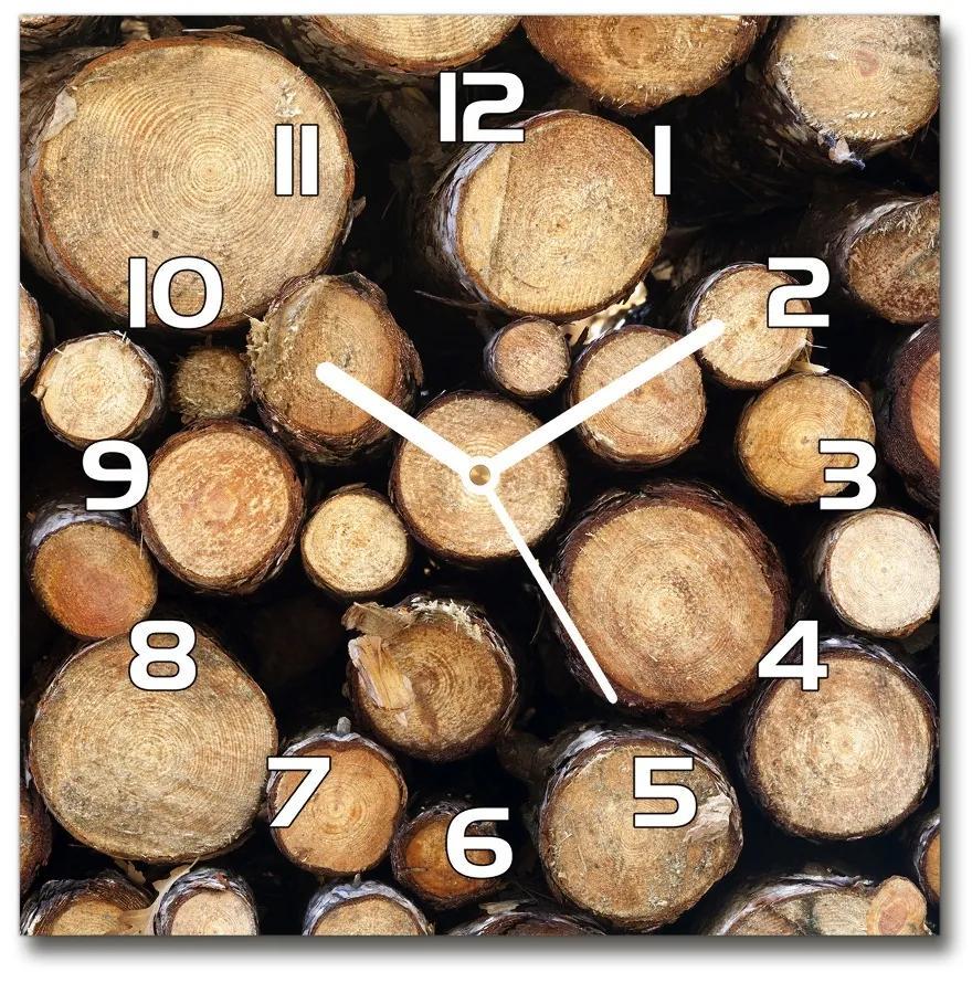 Sklenené hodiny na stenu Polená dreva pl_zsk_30x30_f_132747240