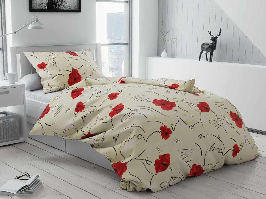 Krepové obliečky Maky červené Rozmer obliečok: 70 x 90 cm, 140 x 200 cm