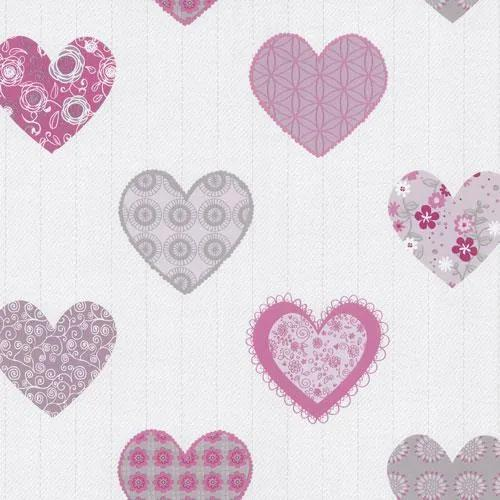 Papierové tapety, srdiečka ružové, Happy Kids 2 558310, P+S International, rozmer 10,05 m x 0,53 m