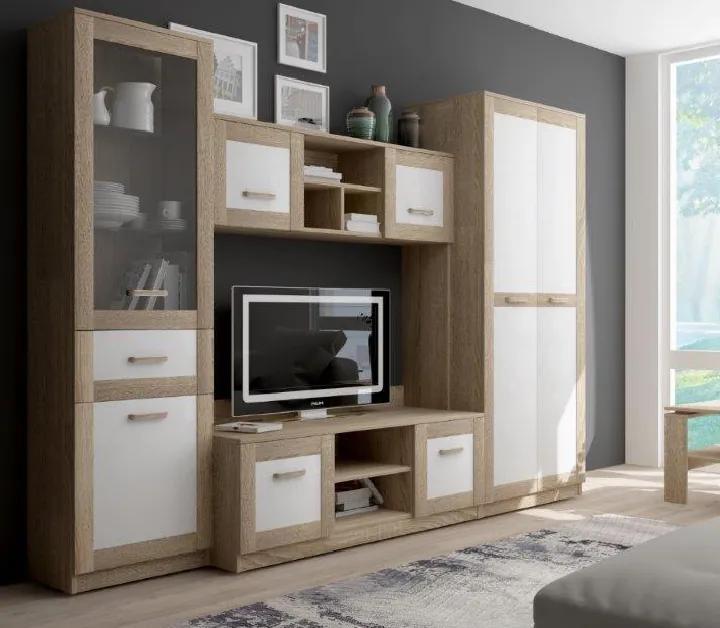 Obývacia stena, dub sonoma/biela matná, EGYNA