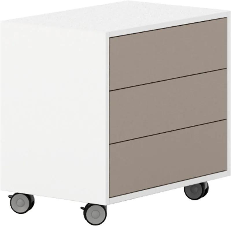 Pojazdná skrinka s 3 zásuvkami White LAYERS, korpus biely, zásuvky svetlo hnedé biela svetlo hnedá 3 400 600 575 LAYERS