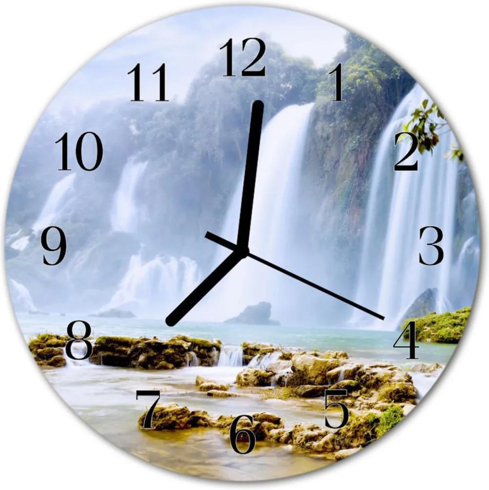 Nástenné sklenené hodiny  vodopád