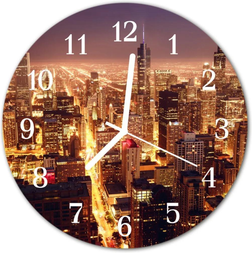 Nástenné skleněné hodiny Městské budovy