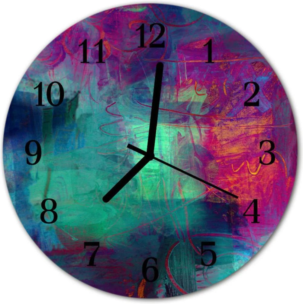 Skleněné hodiny kulaté Barevný obrázek