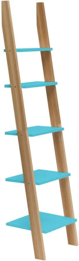 Tyrkysová rebríková polica Ragaba ASHME, šírka 45 cm