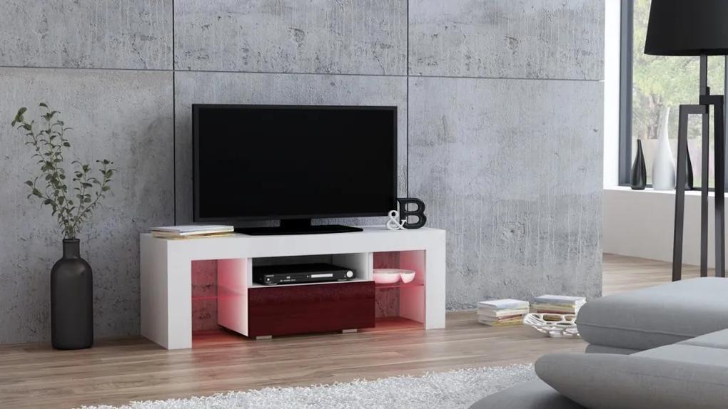 Mazzoni TV stolík MILANO lesklý 110 LED biely, burgund zásuvka