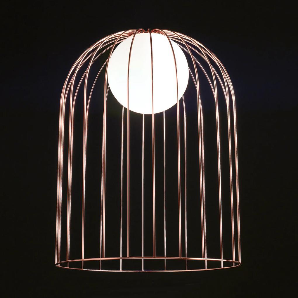 Kovová stolná lampa Kluvi medenej farby