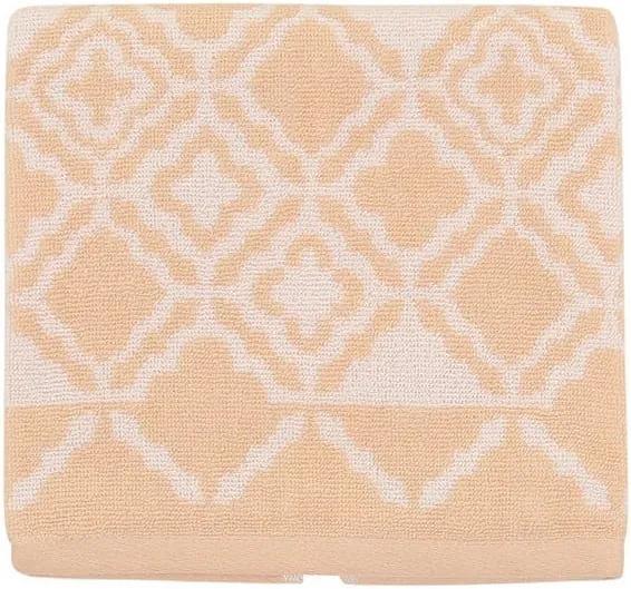 Svetlooranžový bavlnený uterák Mozaic, 50 × 90 cm