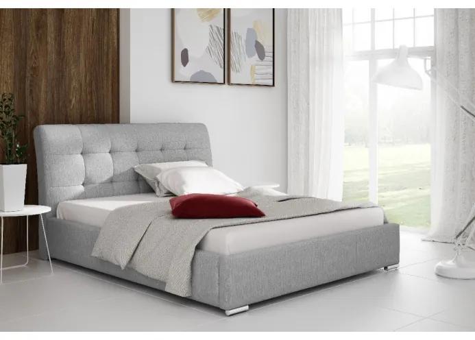 Moderní čalouněné jednolůžko Evelyn s úložným prostorem světle šedá 120 x 200