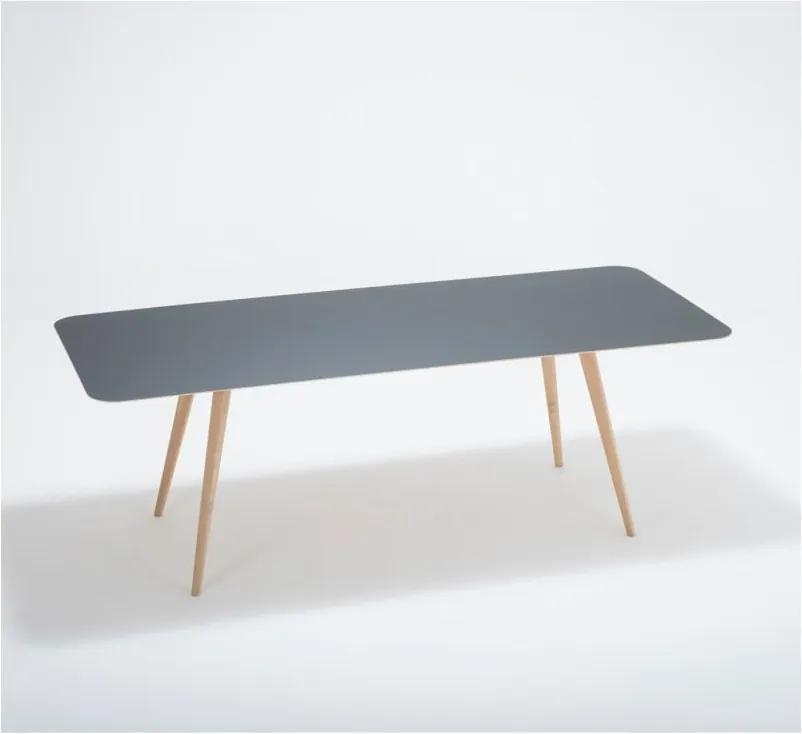 Jedálenský stôl z masívneho dubového dreva s čiernou doskou Gazzda Linn, 220 × 90 cm