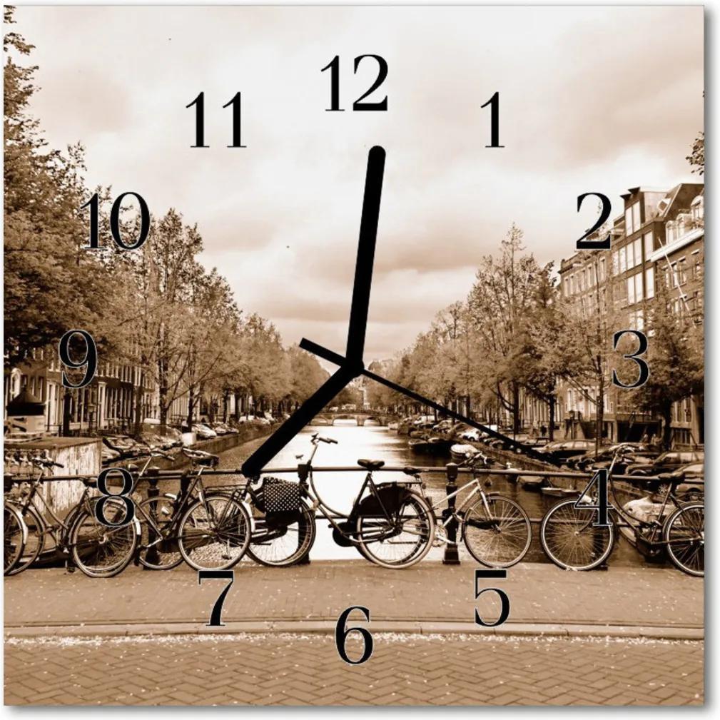 Skleněné hodiny čtvercové Amsterodam