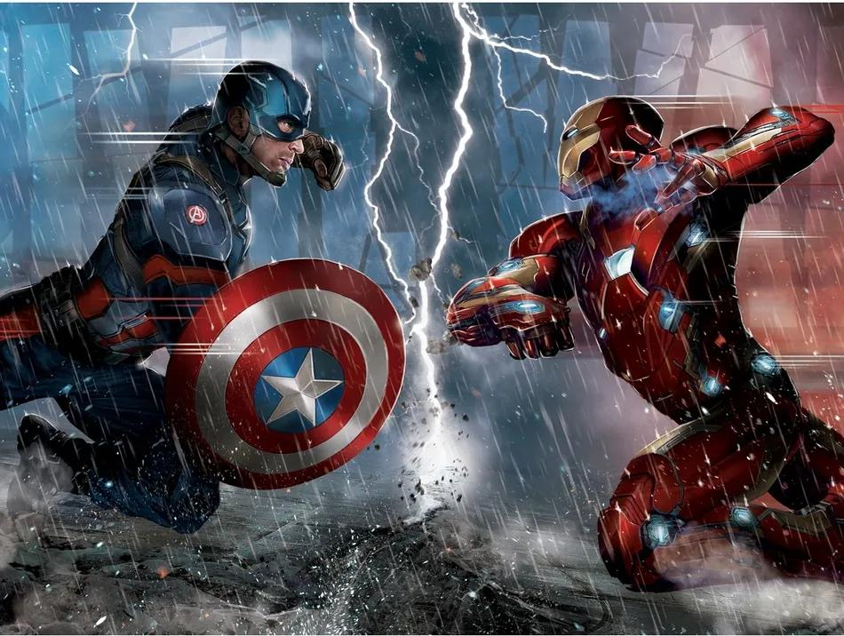 AG Art Detská fototapeta XXL Captain America a Iron Man 360 x 270 cm, 4 diely