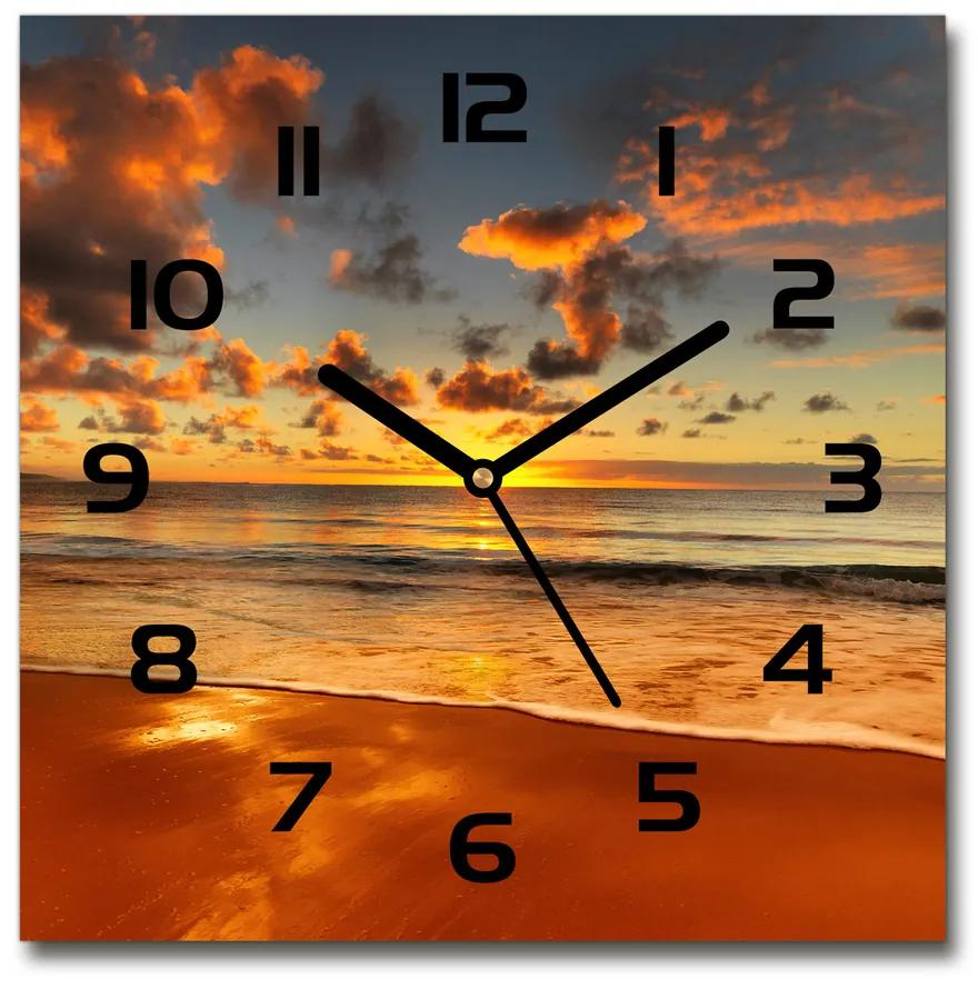 Sklenené hodiny štvorec Austrálska pláž pl_zsk_30x30_f_40275478