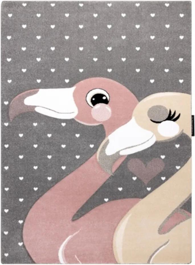 Detský kusový koberec Plameniak sivý, Velikosti 200x290cm