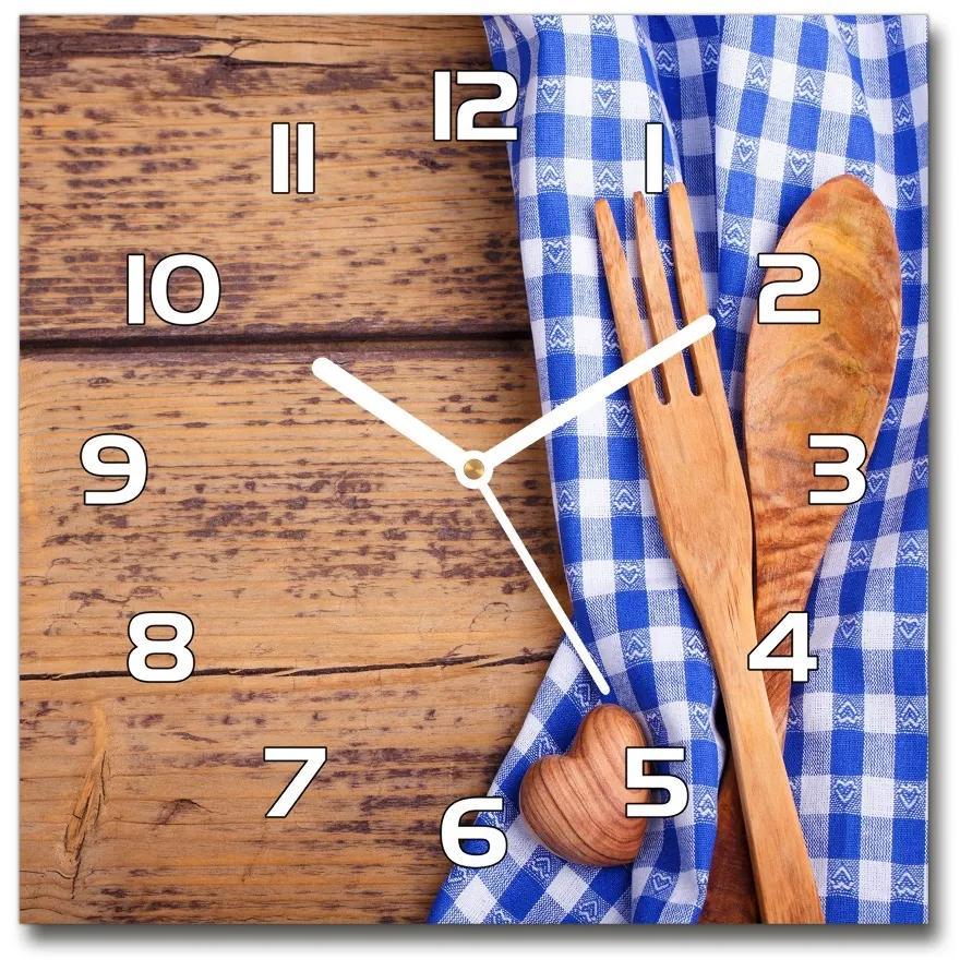 Sklenené hodiny štvorec Drevené príbory pl_zsk_30x30_f_88440875