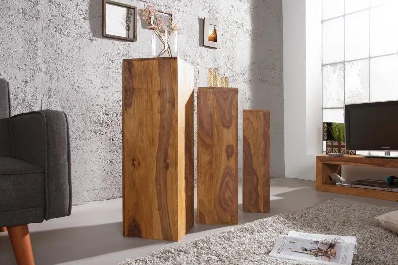 Odkladací stolík Makassar 3ks z masívneho Sheesham dreva