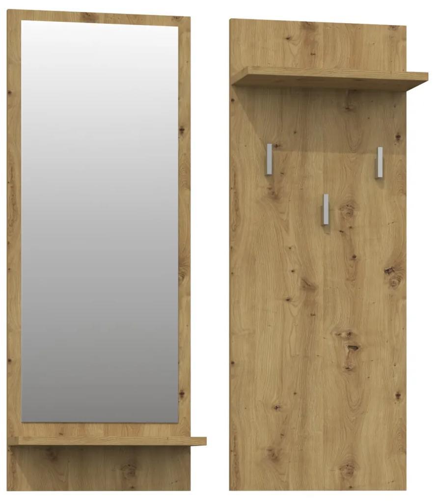 Shoptop Věšáková stěna se zrcadlem- RIVA- DUB artisan