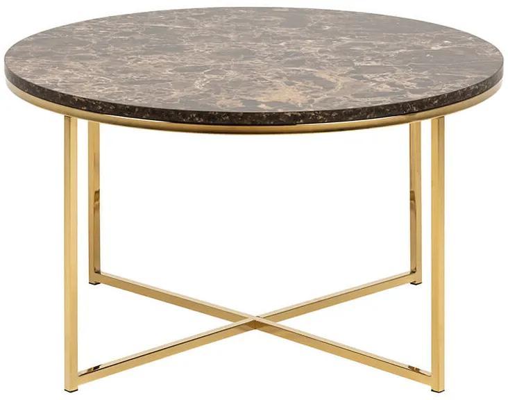 Alisma konferenčný stolík R80 hnedá / zlatá