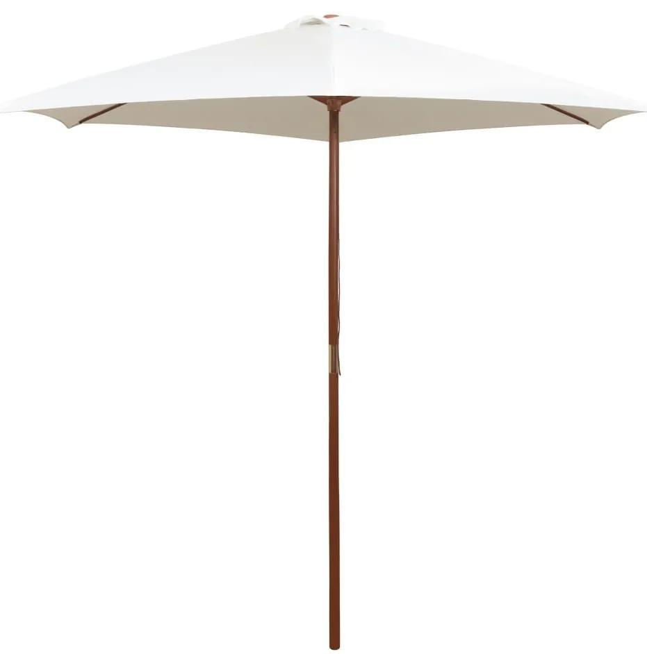 vidaXL Slnečník 270x270 cm, drevená tyč, krémovo-biely