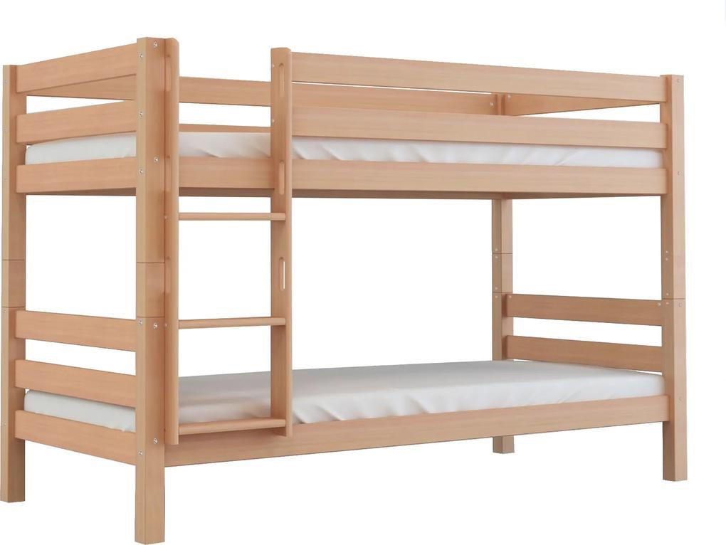 MF Kvalitná poschodová posteľ buková Oliver 200X90 Variant úložný box: Bez úložného boxu