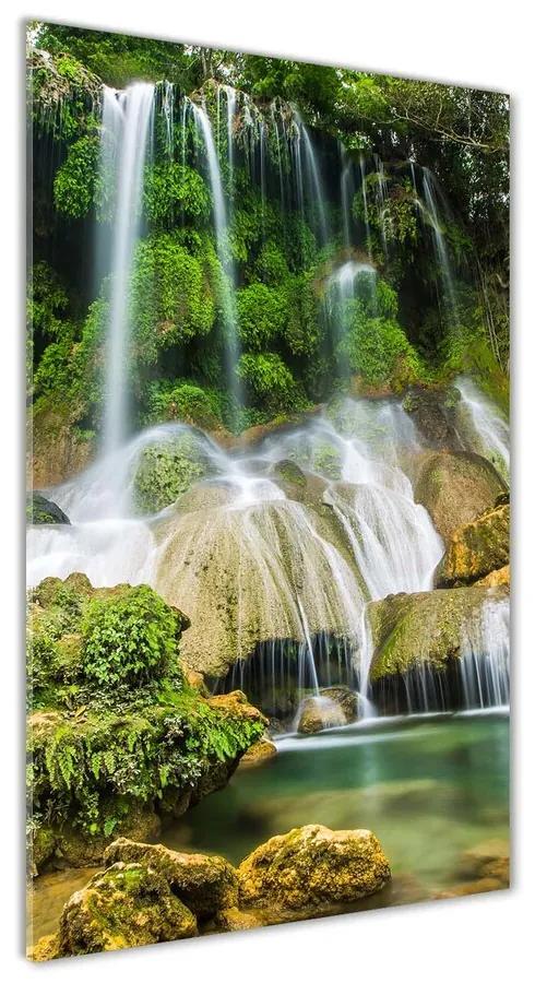 Foto obraz akrylový Vodopád v džungli pl-oa-70x140-f-104909030