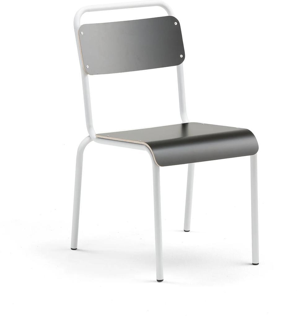 Jedálenská stolička Frisco, biely rám, čierny laminát