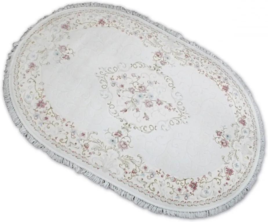 Luxusný kusový koberec akryl Liam krémový ovál, Velikosti 200x300cm