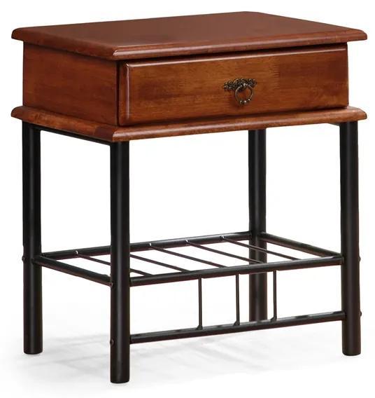 HALMAR Fiona nočný stolík čerešňa antická / čierna