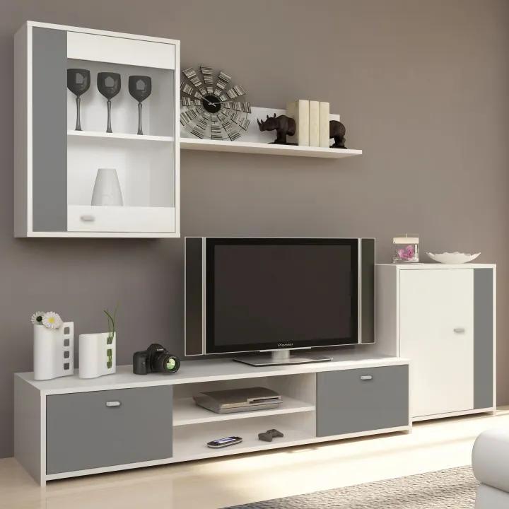 TEMPO KONDELA Genta obývacia stena biela / sivá