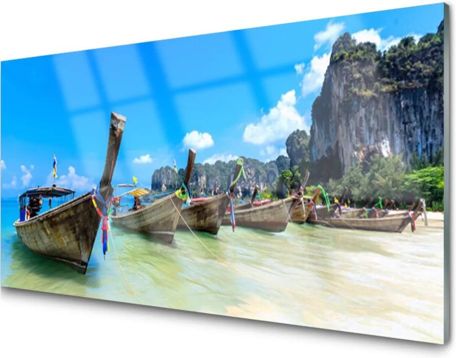 Obraz na skle Loďka Moře Pláž Krajina