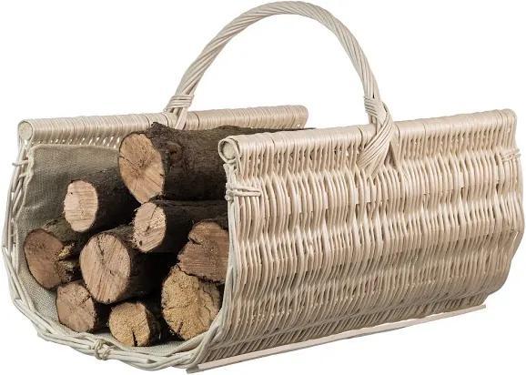 Drevobox Prútený kôš na drevo zaoblený biely