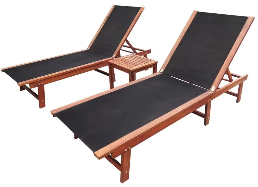 vidaXL Záhradné ležadlá 2 ks so stolíkom, akáciový masív a textilén