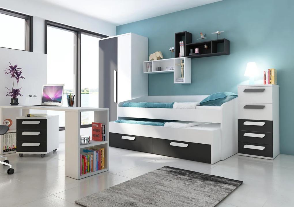 Detská izba s prístelkou B - bielo čierna - Detská posteľ s prístelkou B