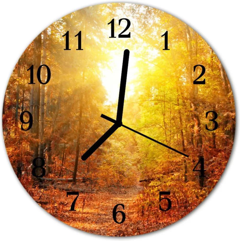 Skleněné hodiny kulaté Podzimní les