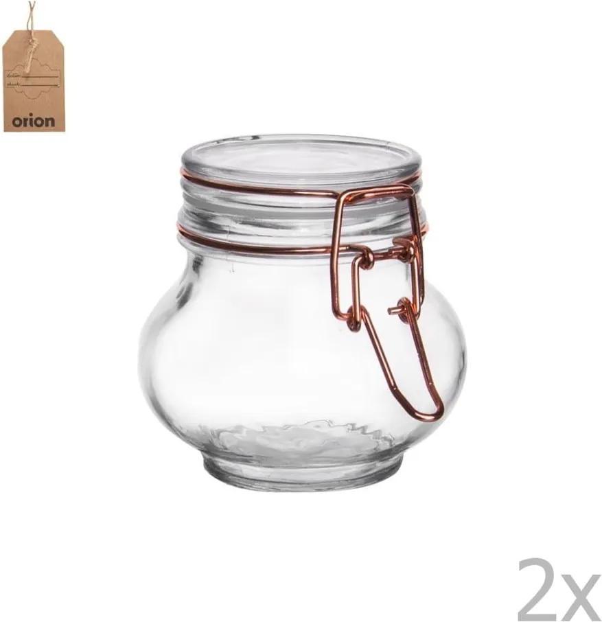 Sada 2 sklenených dóz s kovovým patentom Orion Róza, 250 ml