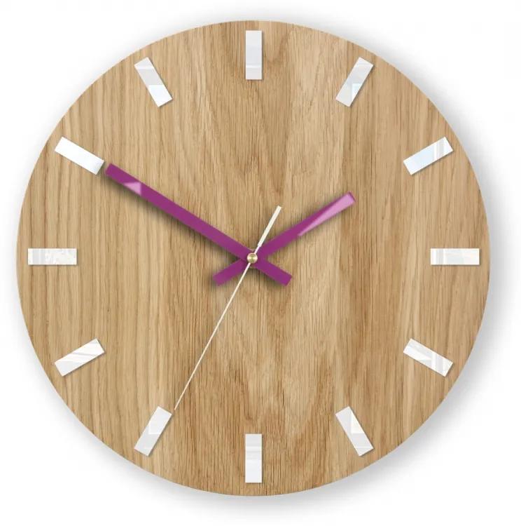 Mazur Nástěnné hodiny Simple Oak hnědo-fialové
