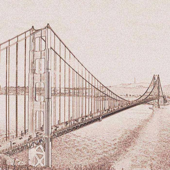 Dimex fototapeta Golden Gate Sépiová kresba L-302 | 220 x 220 cm