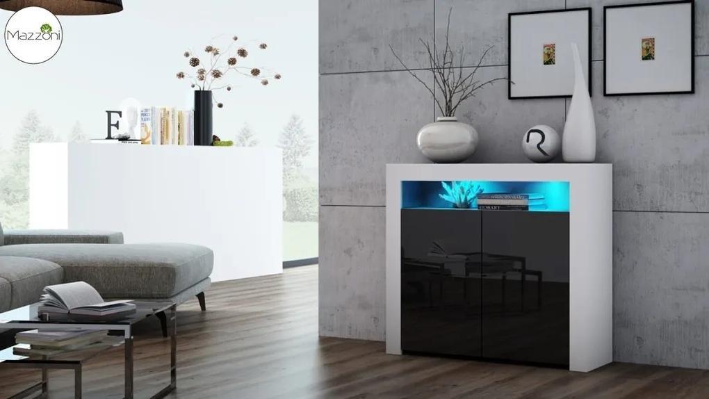 Mazzoni MILA 2D LED skrinka biela / čierny lesk, obývacia izba