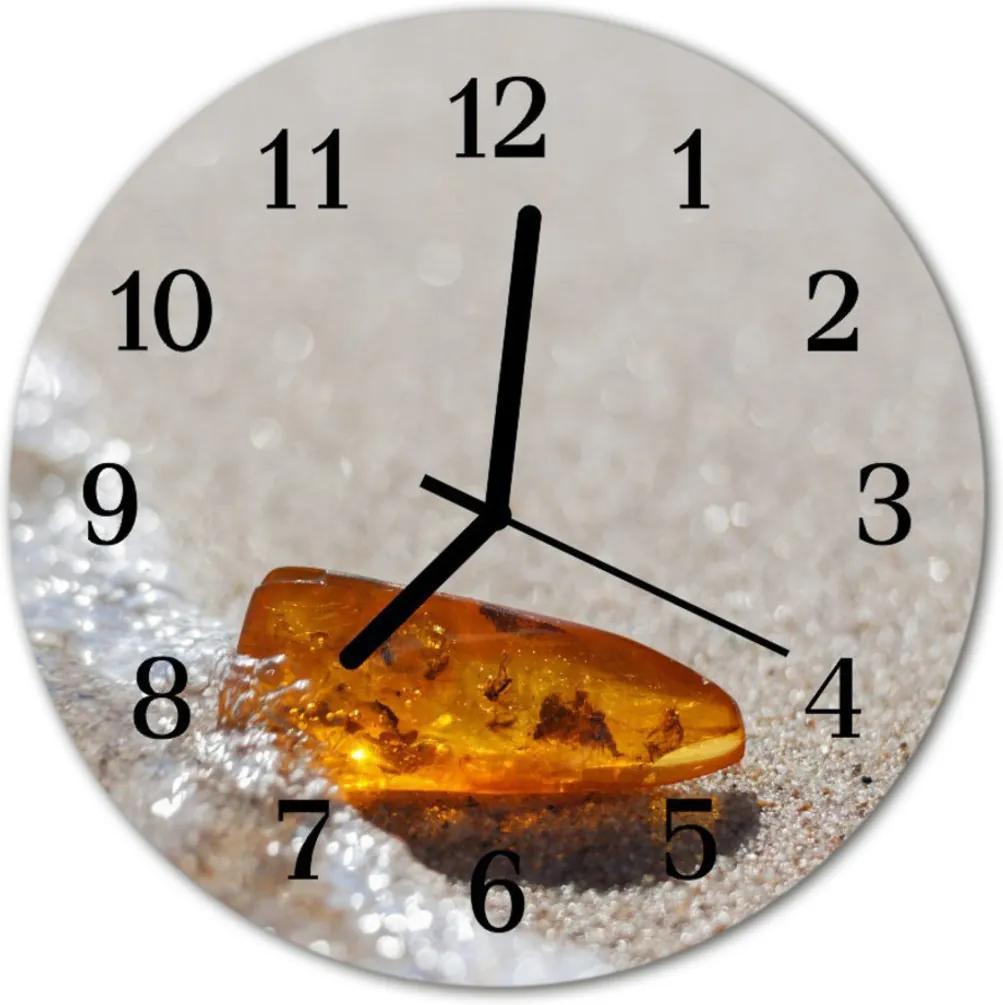 Nástenné skleněné hodiny jantar